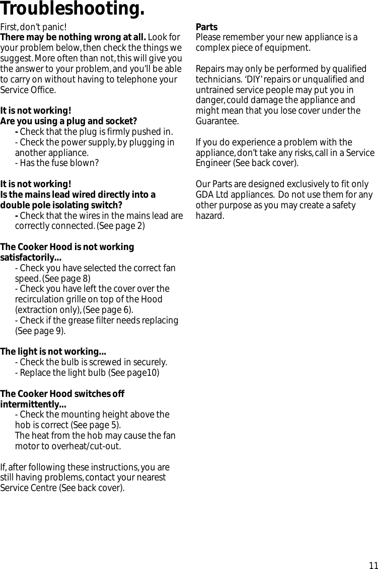Creda Crv10 Users Manual Wiring A Cooker Switch With Socket Page 11 Of 12