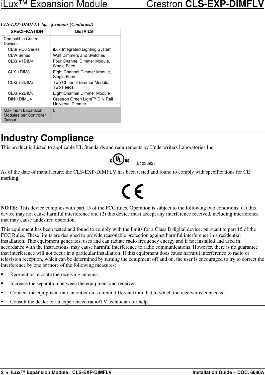 Crestron Electronic Cls Exp Dimflv Users Manual Description Lighting Dimmer Wire Diagram Page 2 Of 8