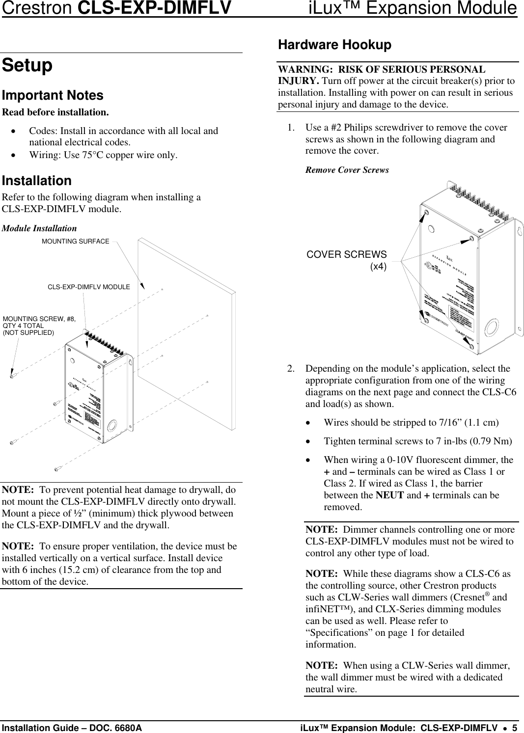 Crestron Electronic Cls Exp Dimflv Users Manual Description Wiring Diagrams Page 5 Of 8