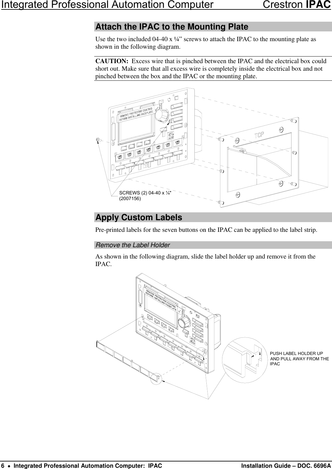 Crestron Electronic Ipac Users Manual Description Wiring Diagram Page 6 Of 12