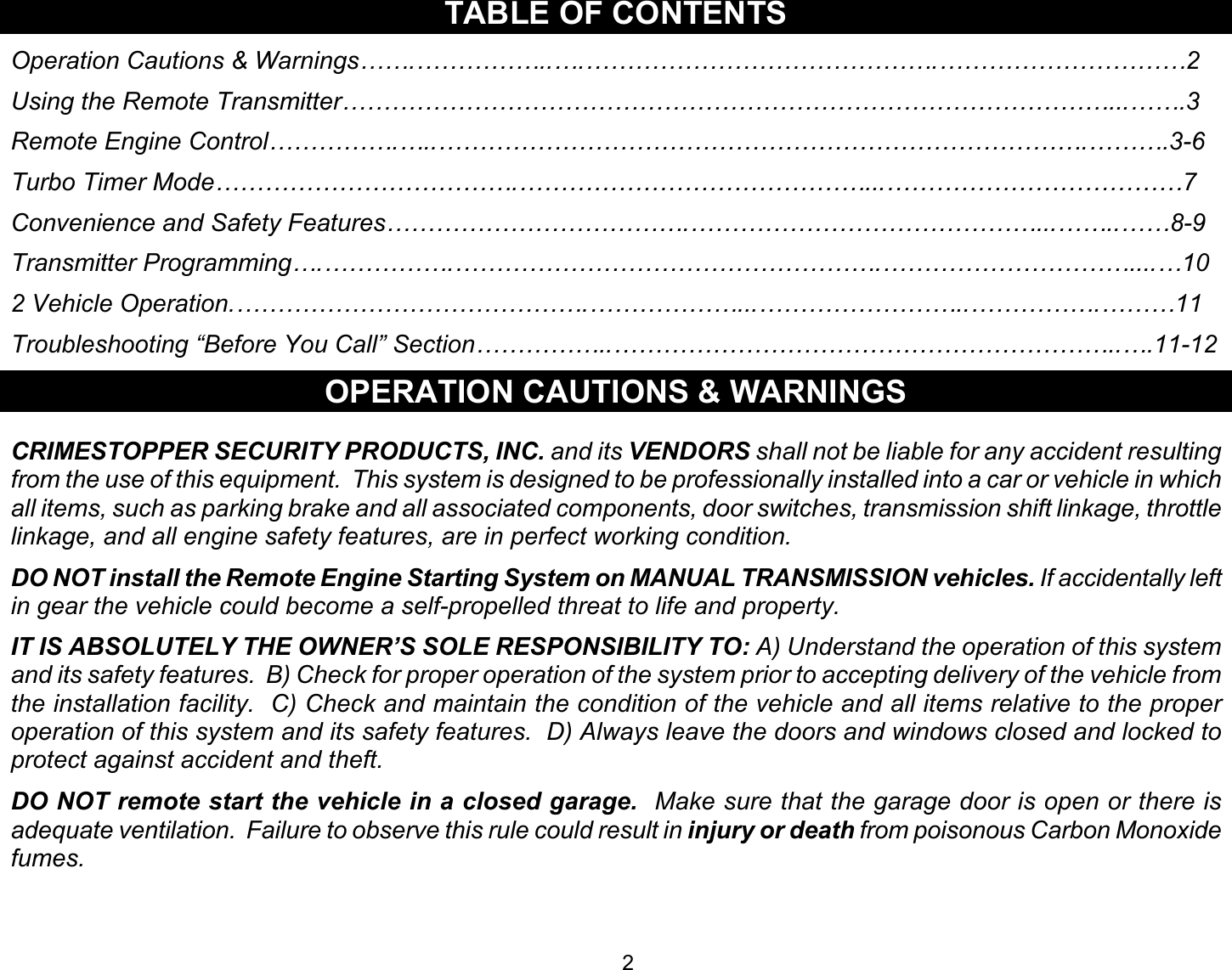 Crimestopper Security Products Ez 90 Users Manual ...