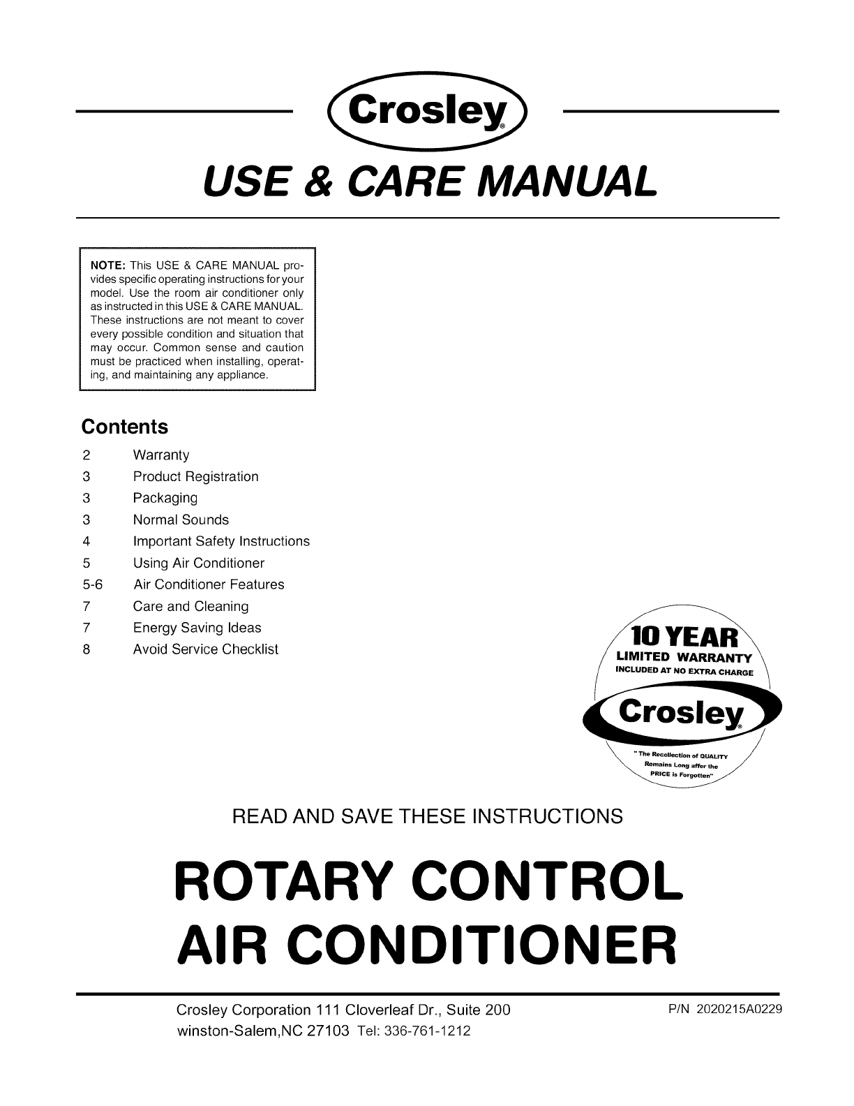 Crosley Cae10ma User Manual Air Conditioner Manuals And Guides L0907331