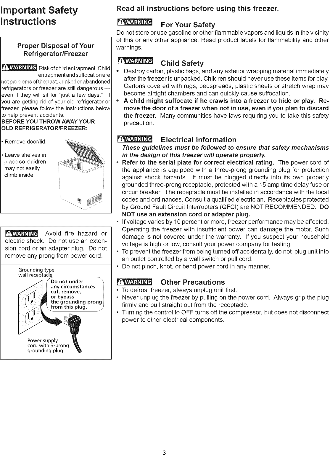 Crosley Cfc05lw User Manual Freezer Manuals And Guides L1002477 Frigidaire Chest Wiring Diagram Page 3 Of 9
