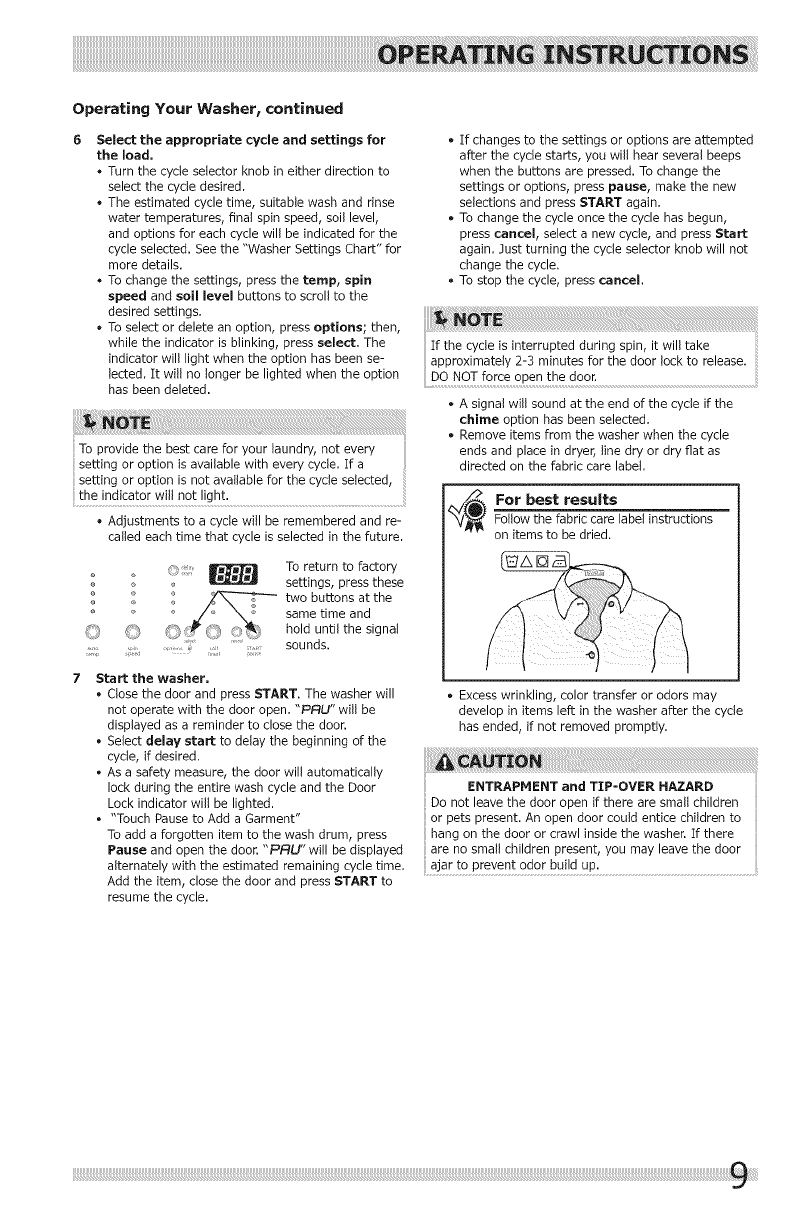 Crosley CFW7400QW0 User Manual WASHER Manuals And Guides