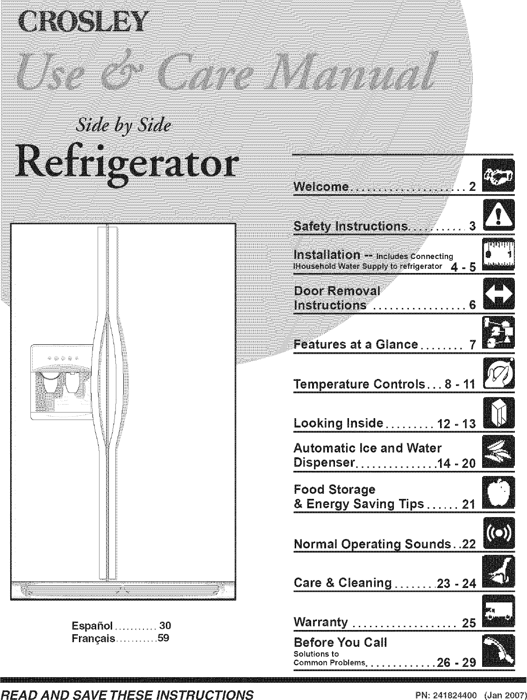 Crosley Crse234fb1 User Manual Refrigerator Manuals And Guides L0704063