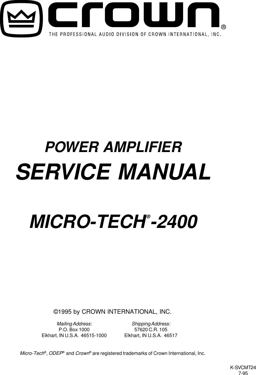 Crown Audio 2400 Users Manual Making Power Amplifier 30 8211 100watts