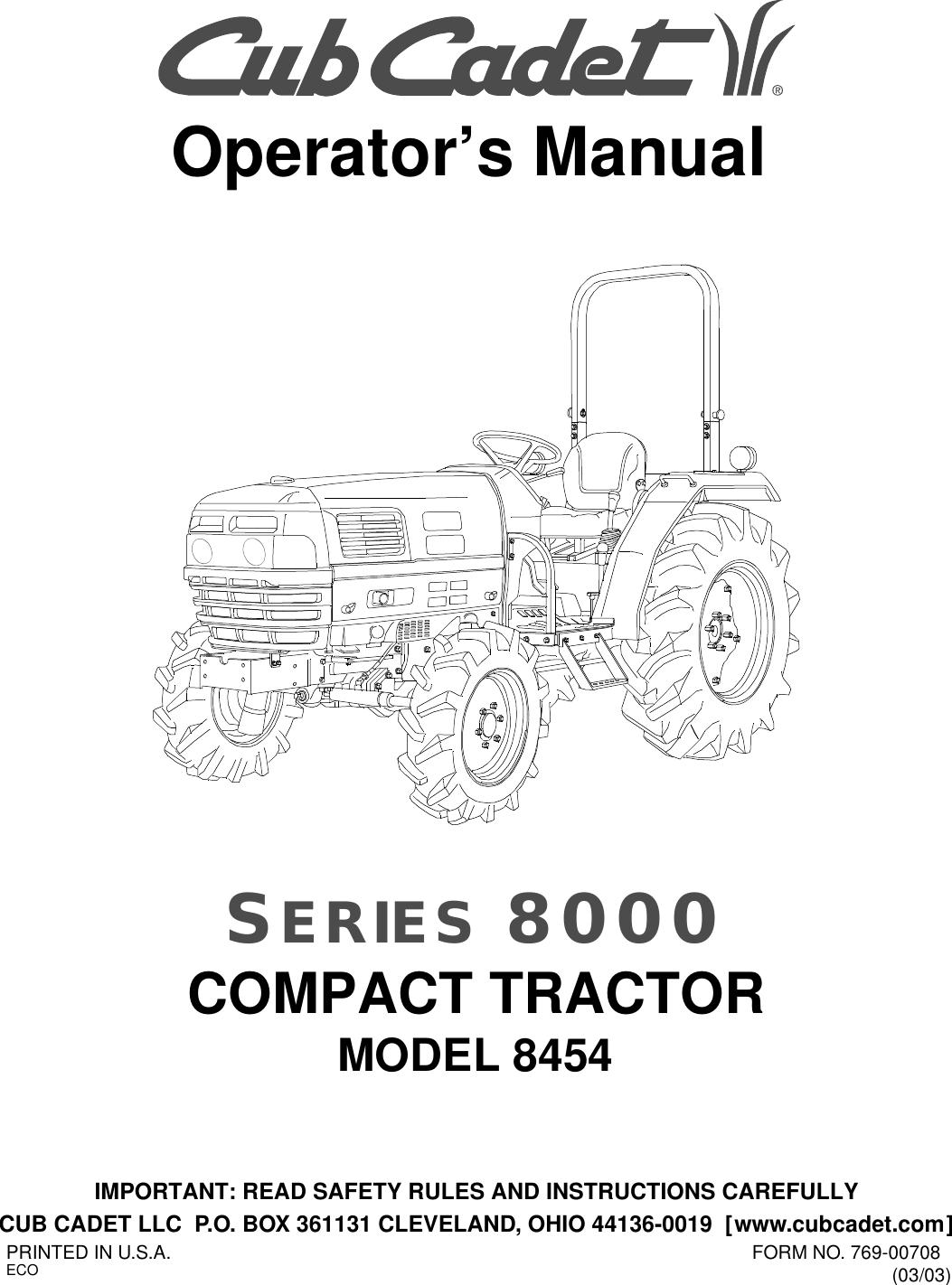 Cub Cadet 8454 Operators Manual