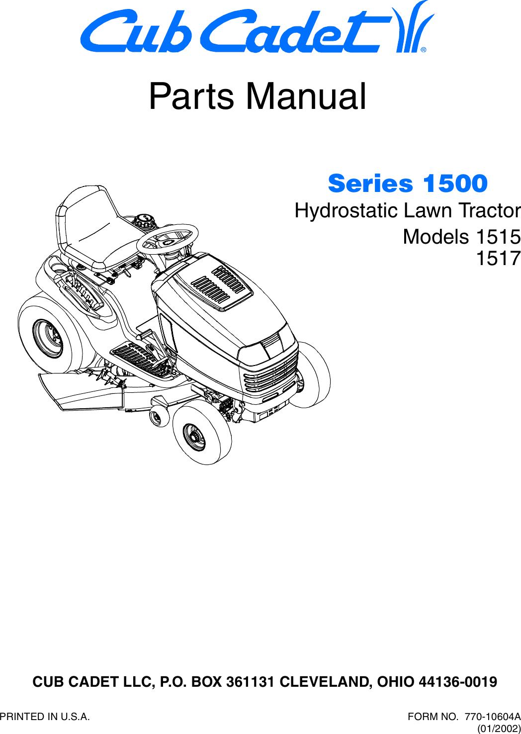 Cub Cadet Hydrostatic Lawn Tractor 1515 Parts Manual 770 10604a Wiring Diagram