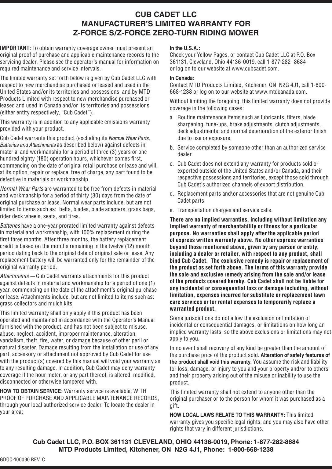 Cub Cadet Z Force S Users Manual