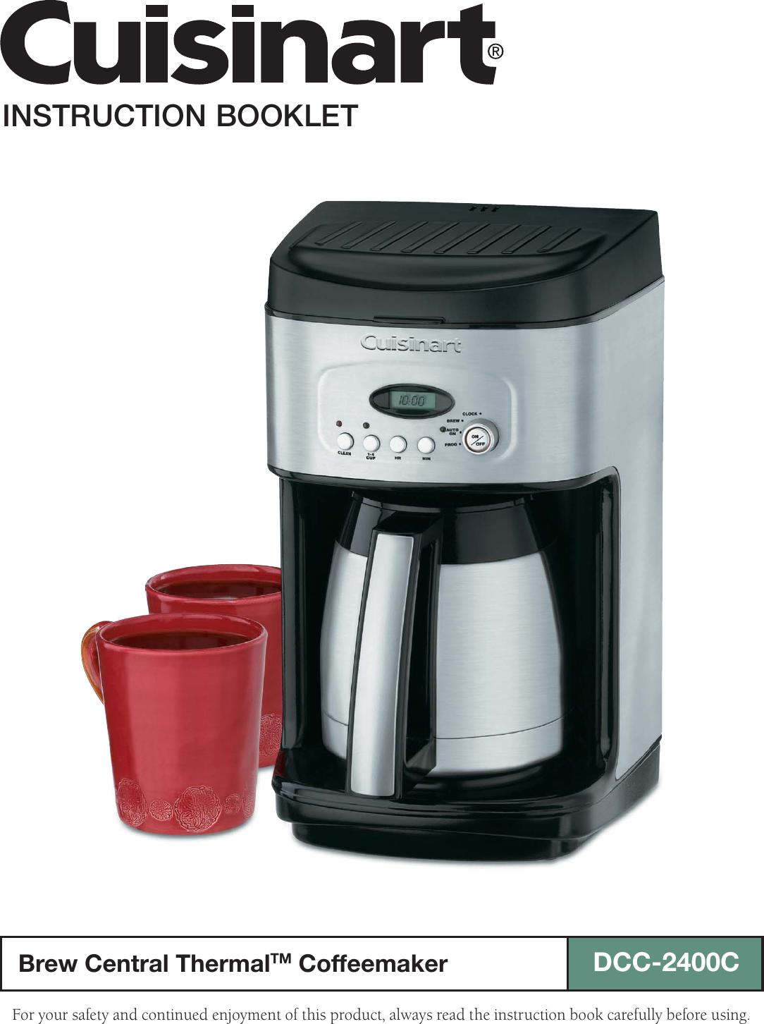 Cuisinart Coffeemaker Dcc 2400c Users Manual 2400c Ib