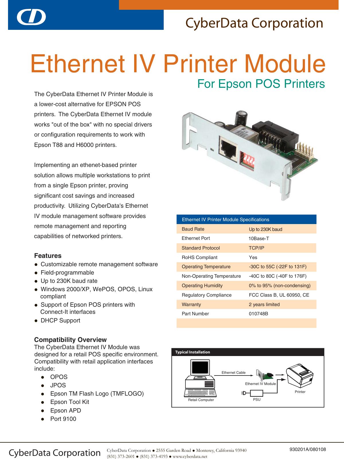Cyberdata Ethernet Iv Printer Module Users Manual