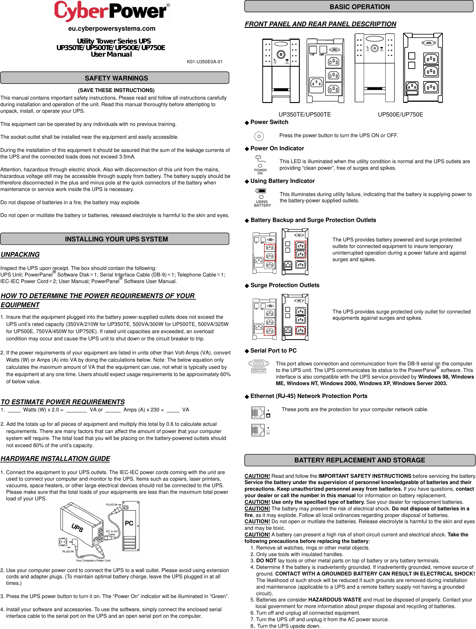 Cyberpower Utility Tower Series Ups Up350te Users Manual Save These Basic Uninterruptible Power Supply Circuit Instructions
