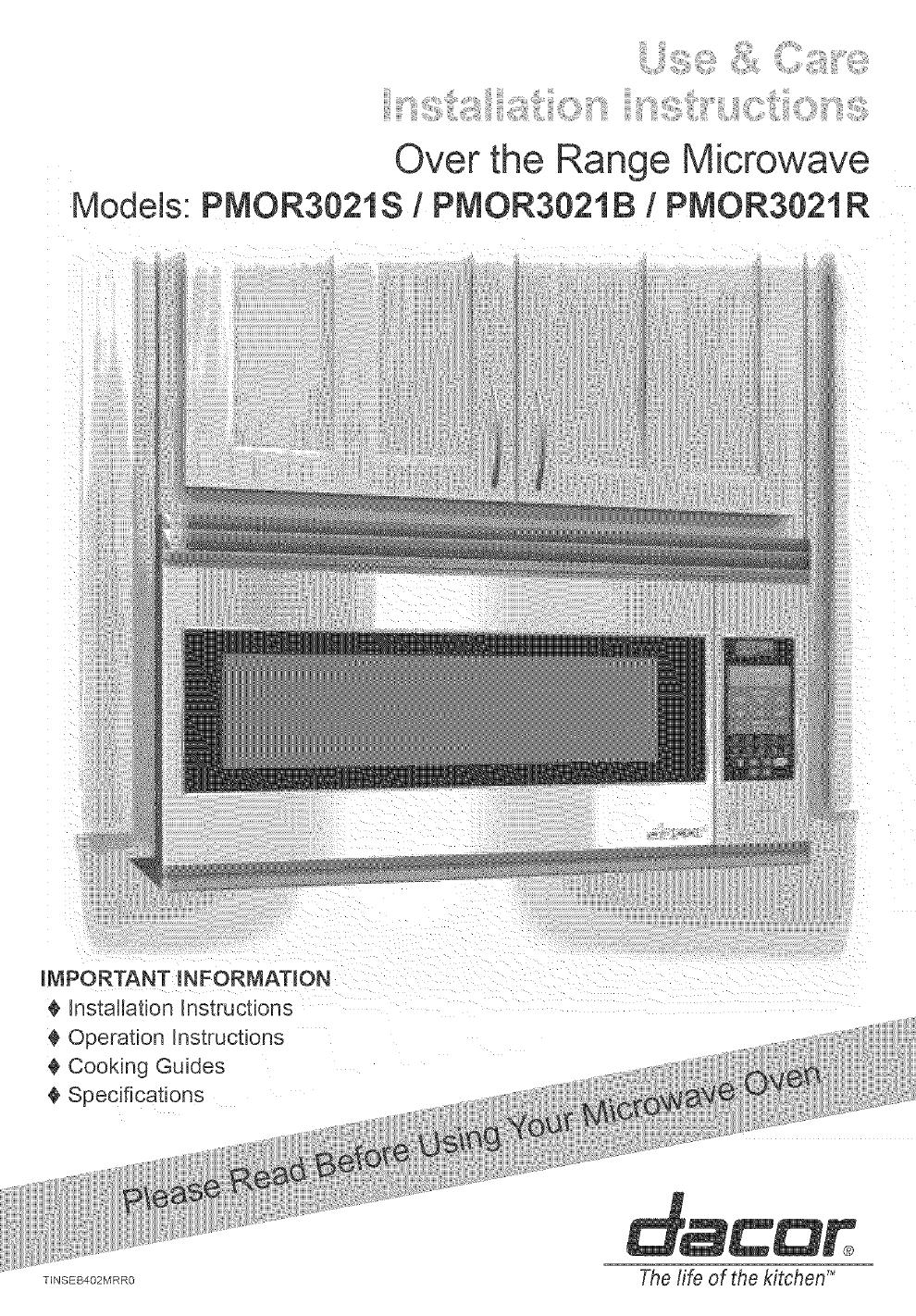 DACOR Microwave/Hood Combo Manual L0520326 on