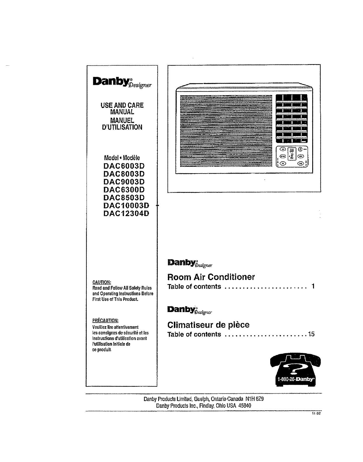 Danby Air Conditioner Room 42 Manual L0712240