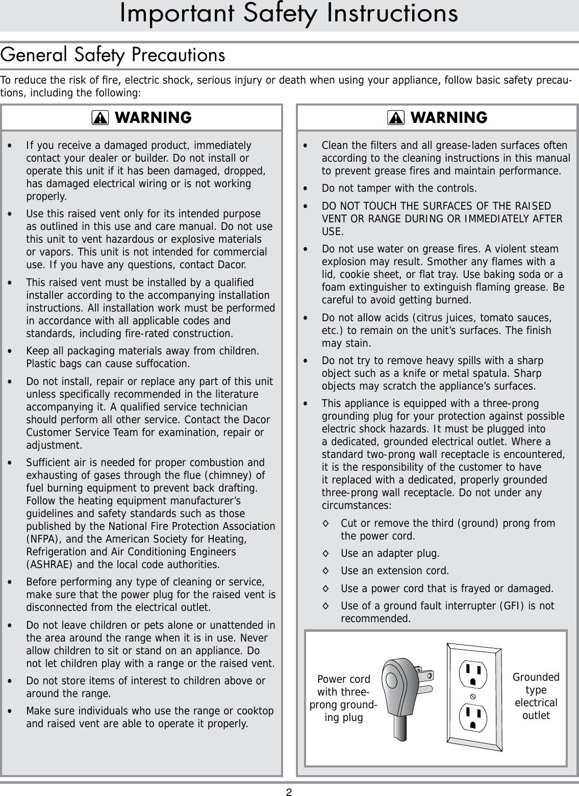 Dacor Rv30 Users Manual