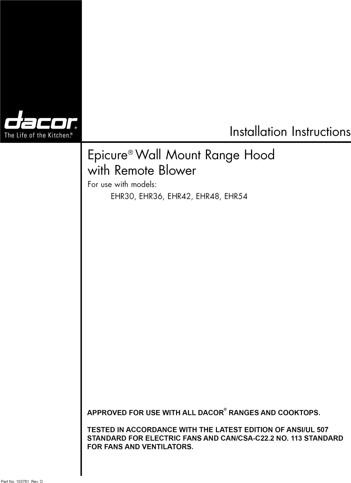 dacor ehr3612sch user manual range hood manuals and guides 1006372l rh usermanual wiki Dacor Range Hood Light Bulbs Dacor Range Hood Light Bulbs