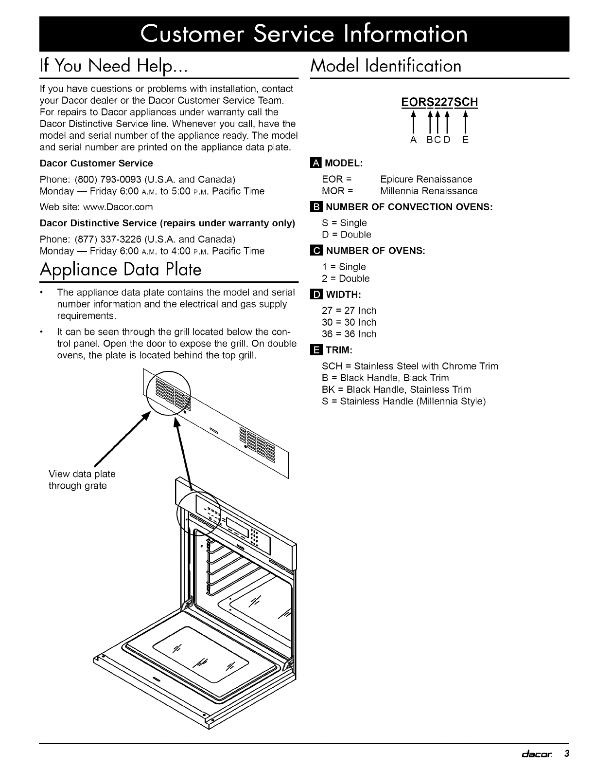 Dacor Eord230b User Manual Wall Oven Manuals And Guides 1006374l Double Wiring Diagram For If You Need Help