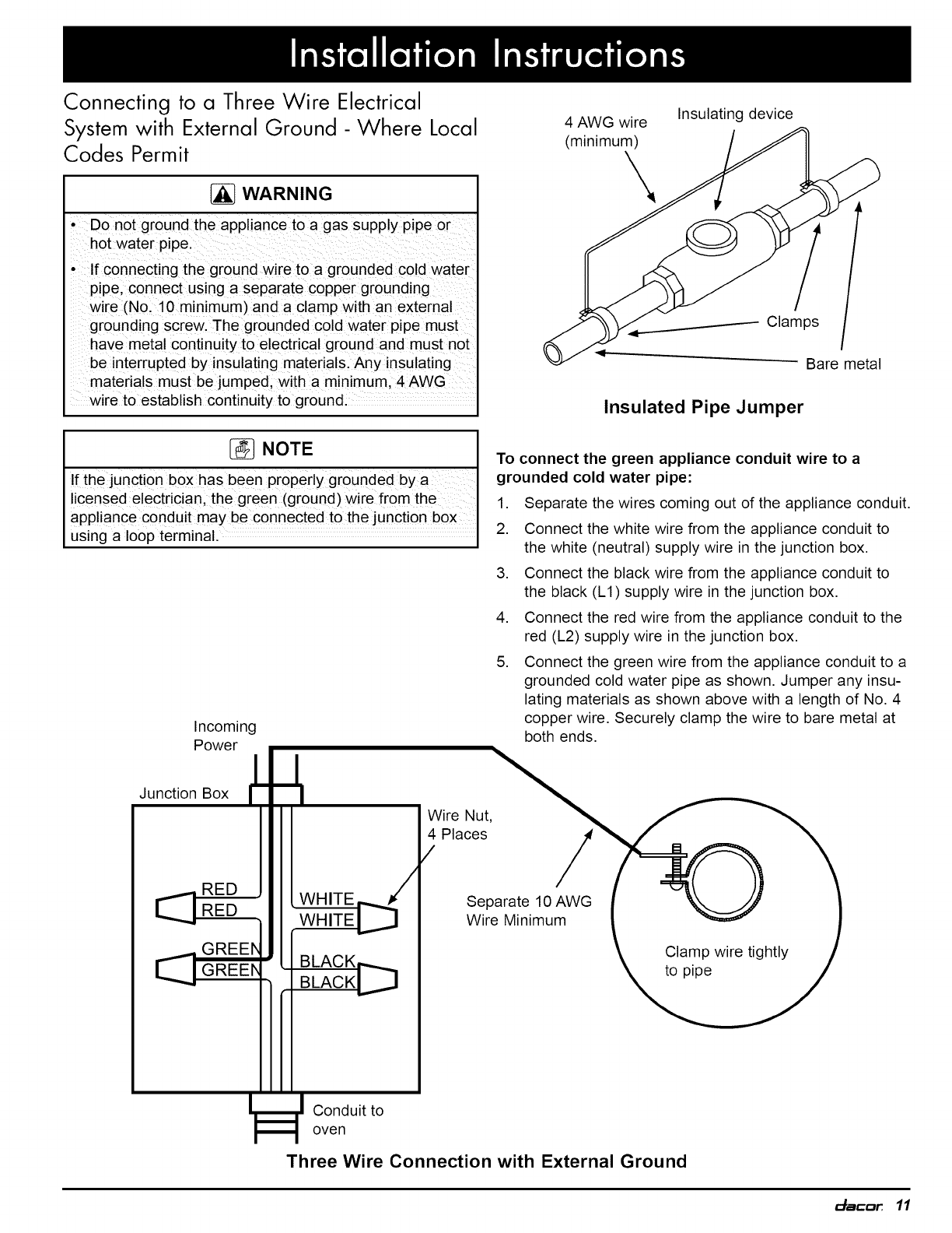 Dacor Eord230b User Manual Wall Oven Manuals And Guides 1006374l Wiring Diagram Connecting To A Three Wire Electrical
