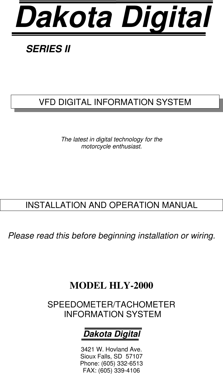 Dakota Digital Hly 2000 Users Manual Hly2000 Speedometer Wiring Diagram