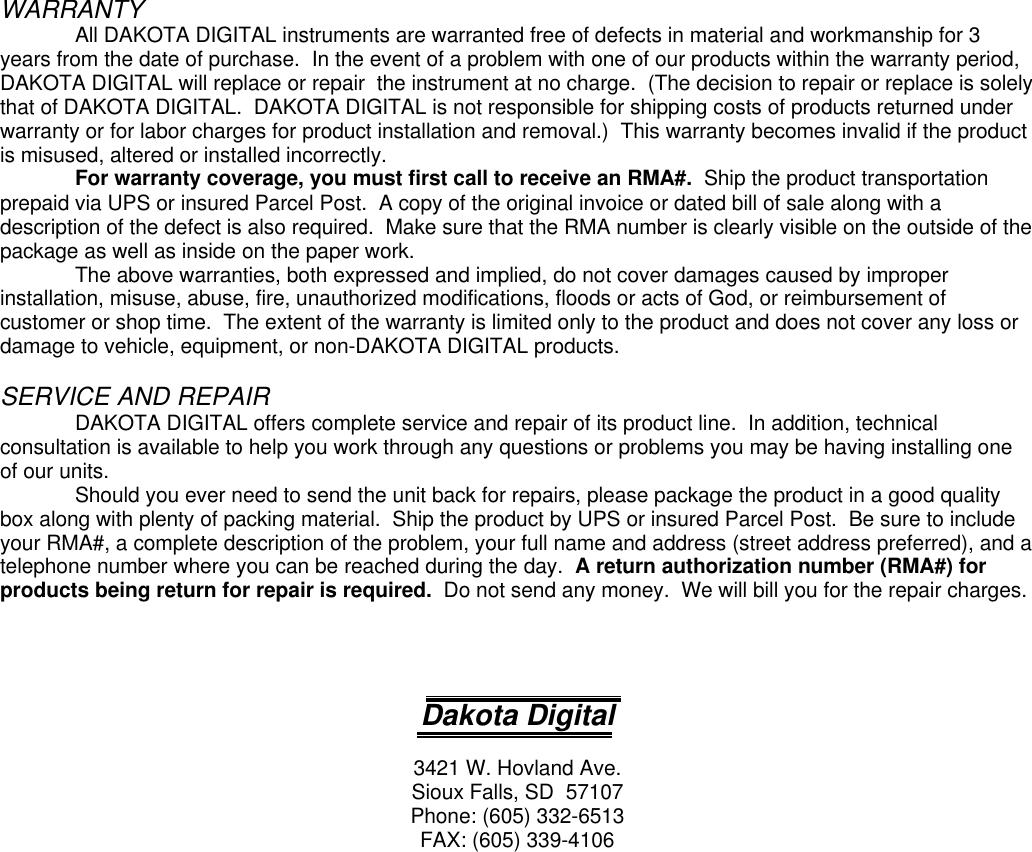 Dakota Digital Hly 2000 Users Manual HLY2000 on