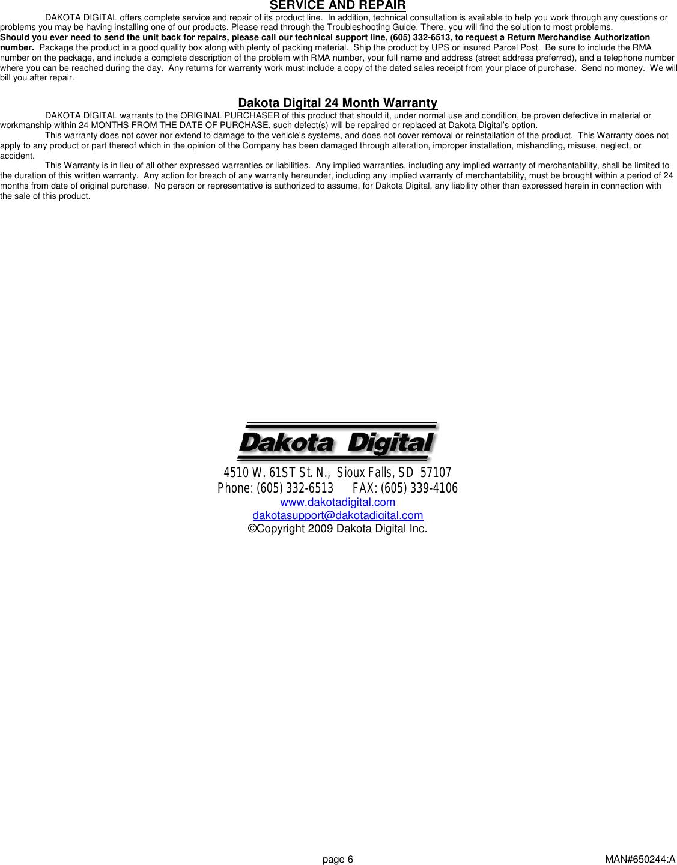 Page 6 of 6 - Dakota-Digital Dakota-Digital-Multi-Gauge-Utv-1200-Users-Manual-  Dakota-digital-multi-gauge-utv-1200-users-manual