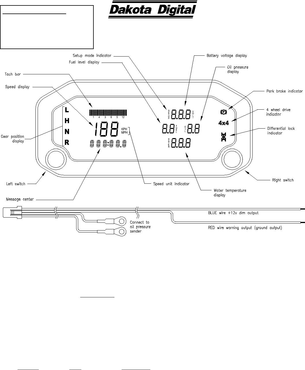 Dakota Digital Gauges Wiring Diagram - Wiring Diagrams on