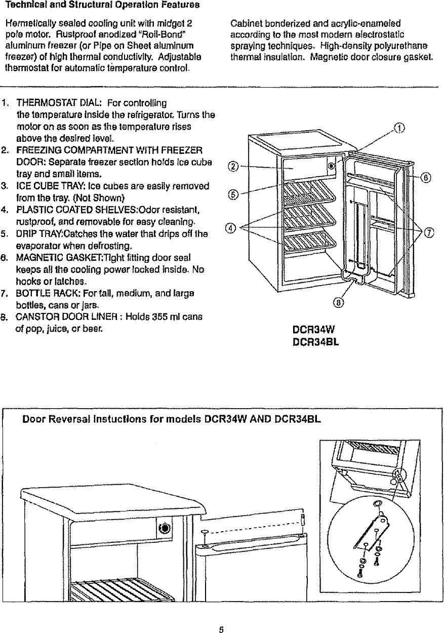 Danby DCR34BL User Manual REFRIGERATOR Manuals And Guides L0712261