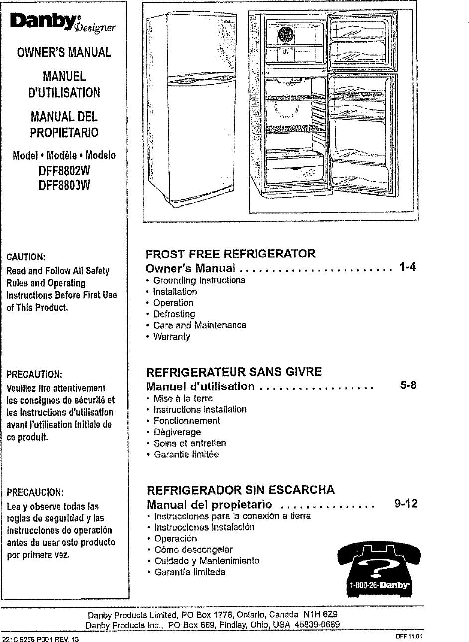 danby dff8803w user manual refrigerator manuals and guides l0712296 rh usermanual wiki Appliance Gas Range Danby Appliances Logo