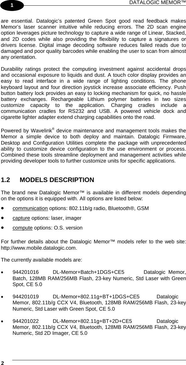 Datalogic S r l 0033 POCKET-SIZED MOBILE COMPUTER User