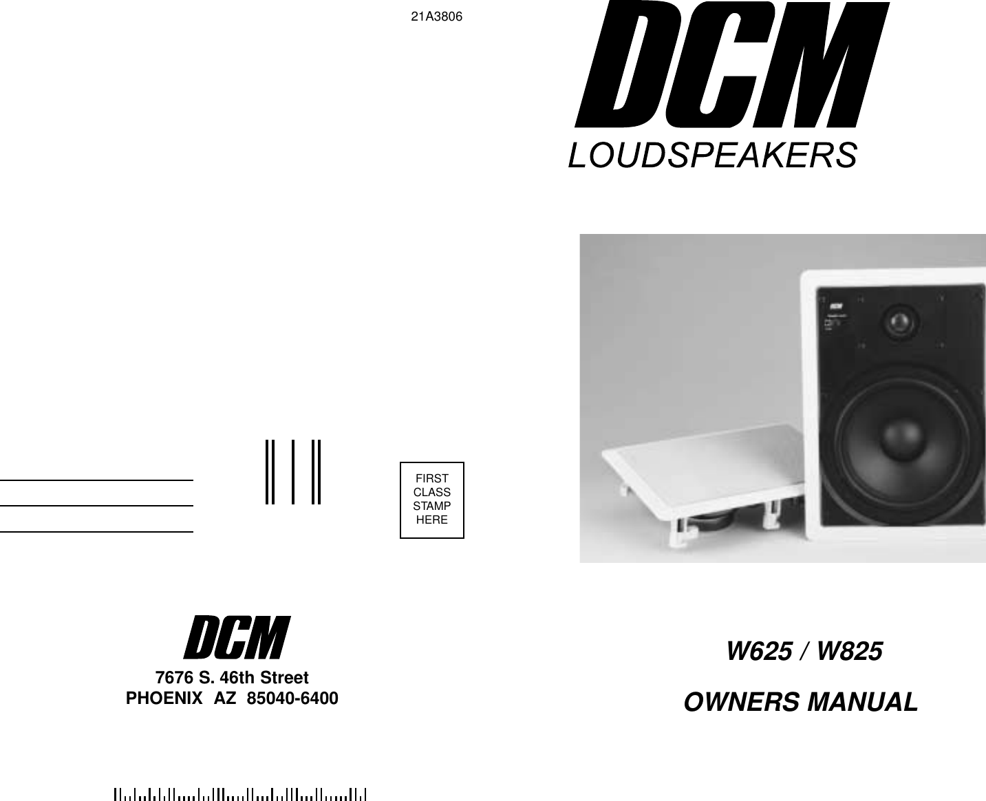 Dcm Speakers W825 Users Manual on
