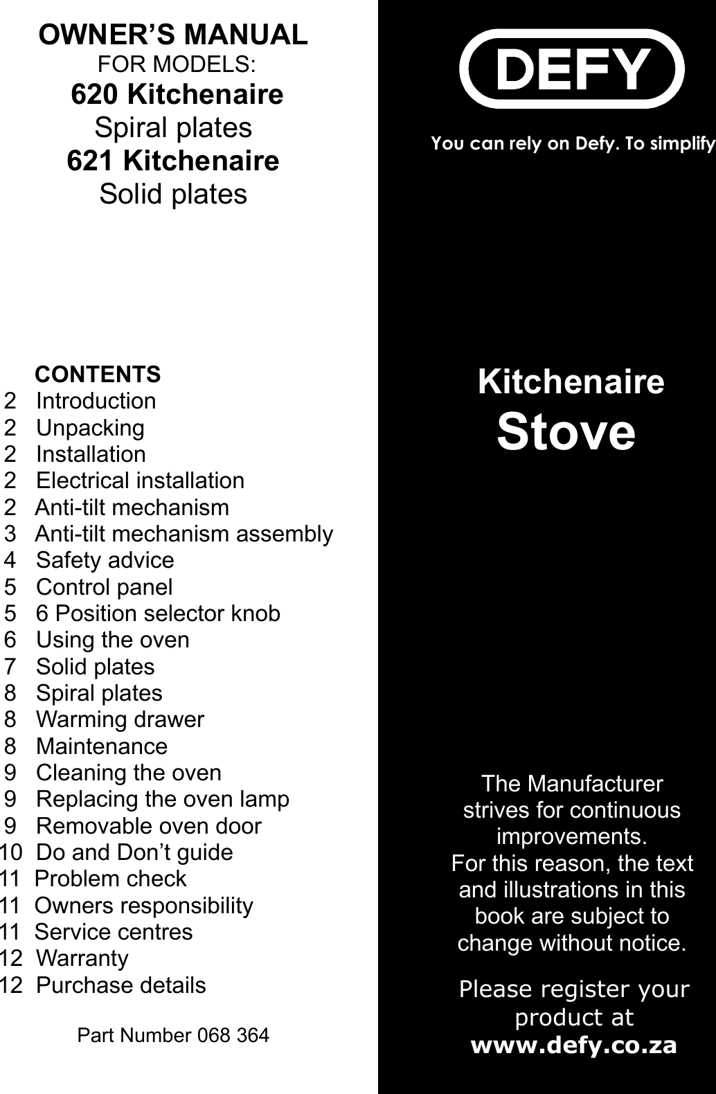 Page 1 Of Defy Defy Kitchenaire Stove 620 Users Manual
