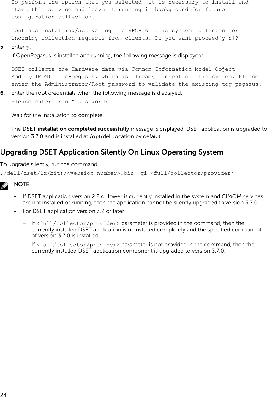 Dell 3 7 0 System E Support Tool (DSET) Version Installation