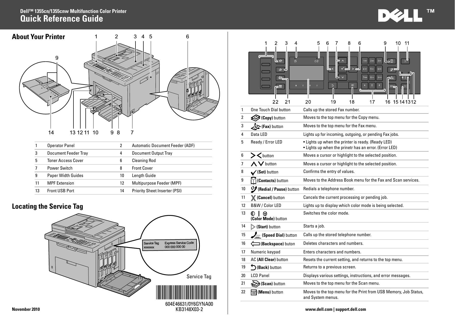 DELL 1355CNCWN PRINTER DRIVER PC