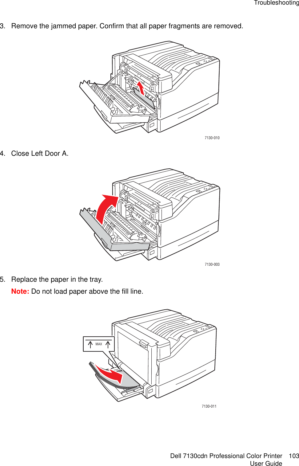 Dell 7130Cdn Color Laser Printer Users Manual User's Guide