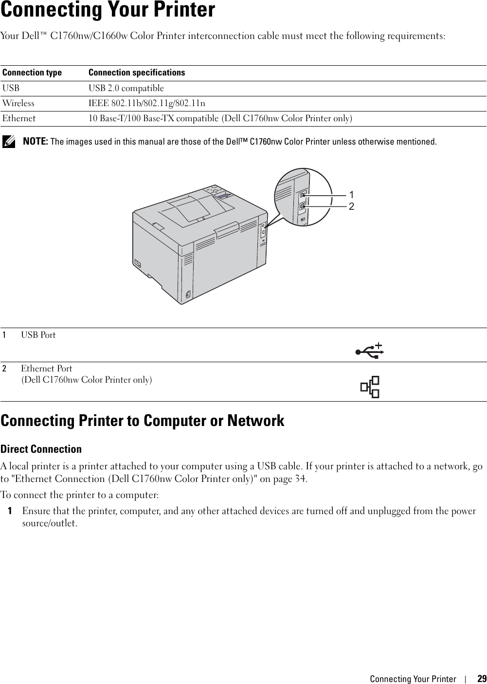 Dell C1760Nw Color Laser Printer Users Manual User's Guide
