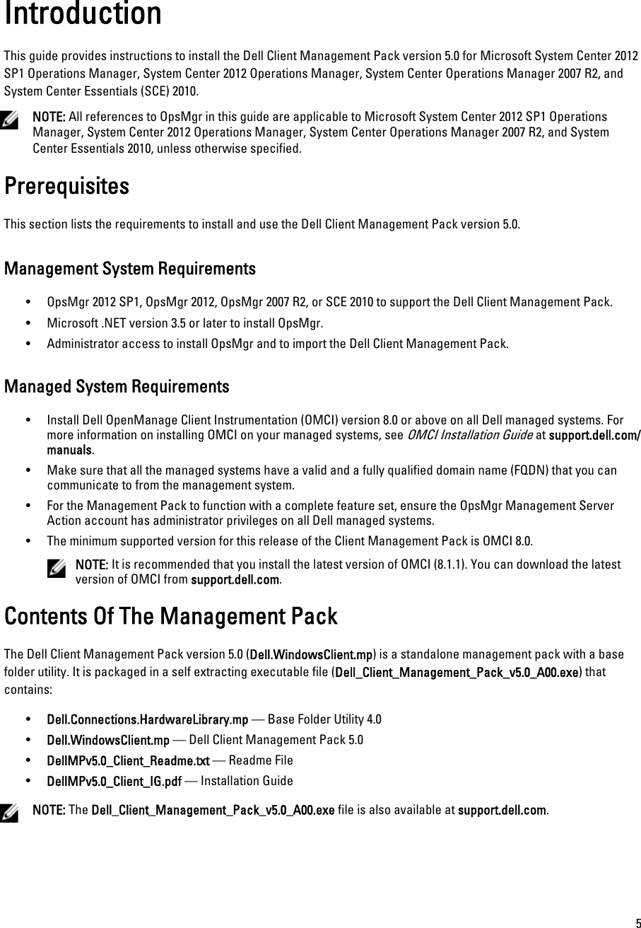 Dell Client Management Pack Version 5 0 For Microsoft System