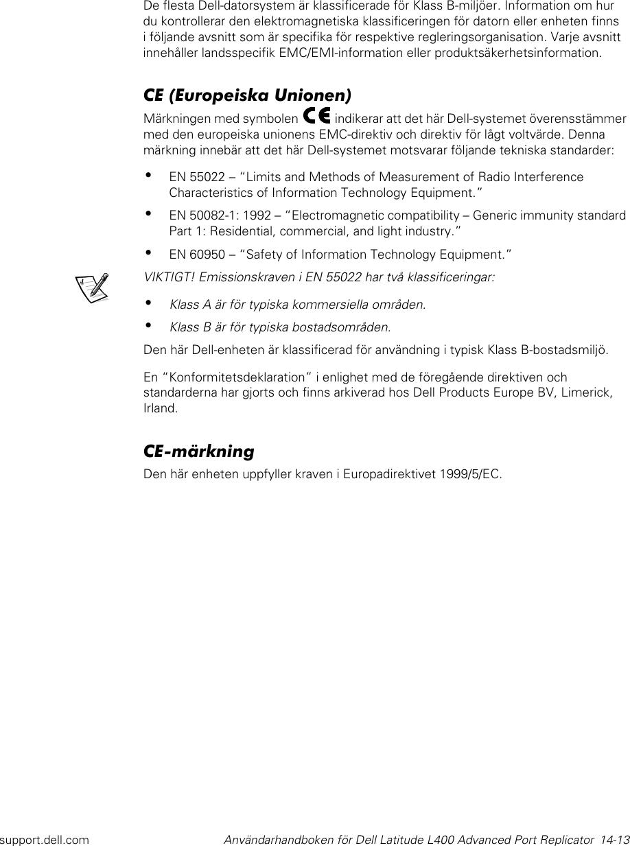 Dell Computer Hardware En 50082 1 1992 Users Manual 3C767bk1