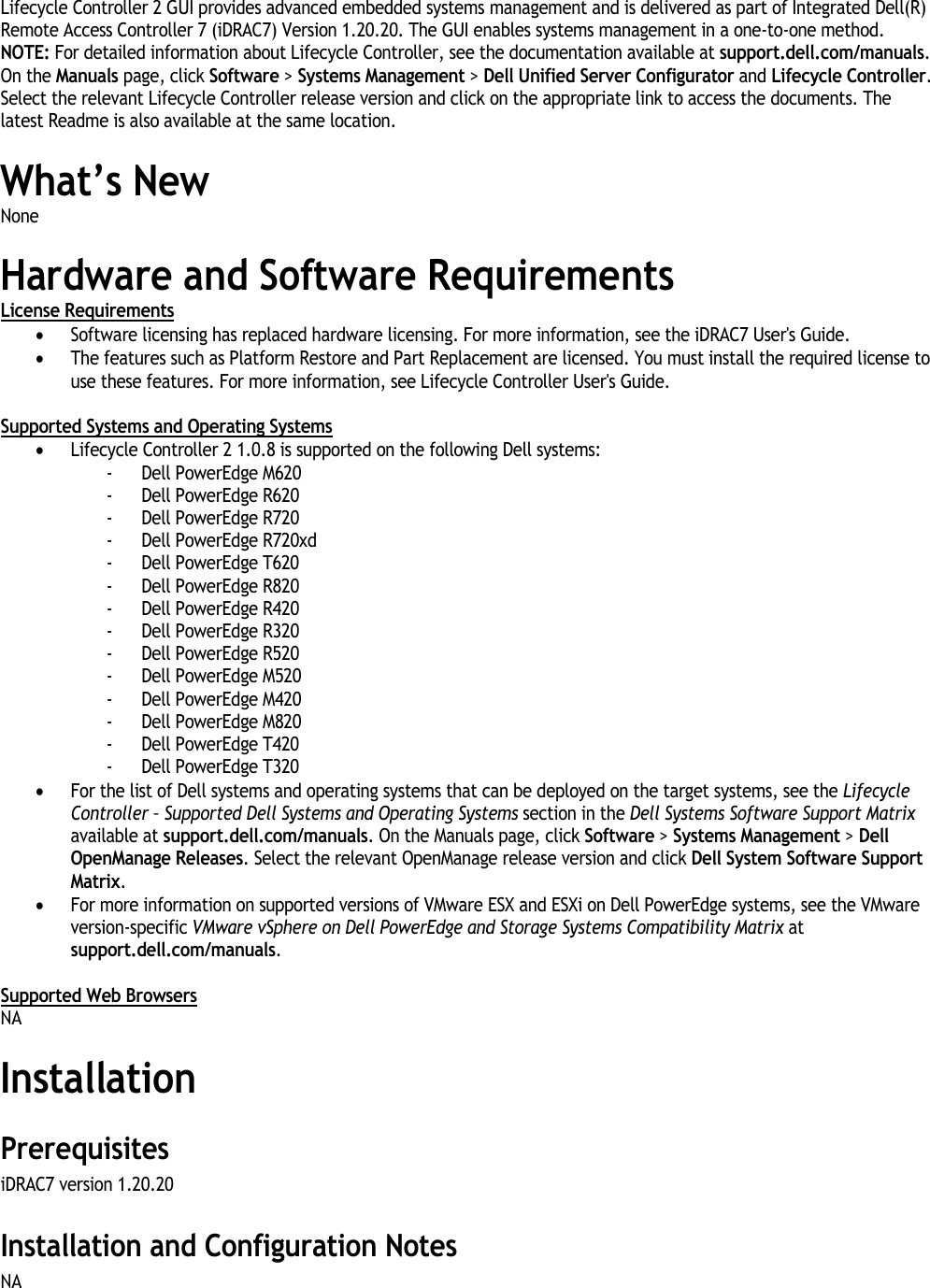 Dell Lifecycle Controller 2 Version 1 0 8 Read Me 1 0 8 Readme