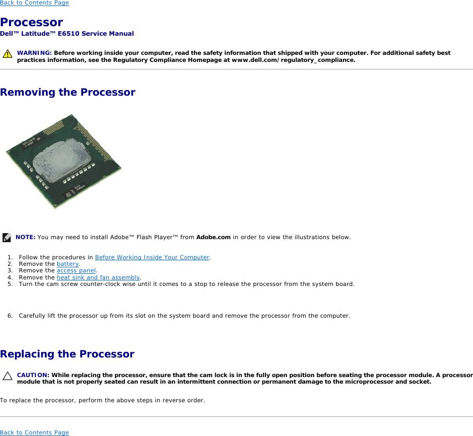 Dell E6510 Users Manual Latitude Service