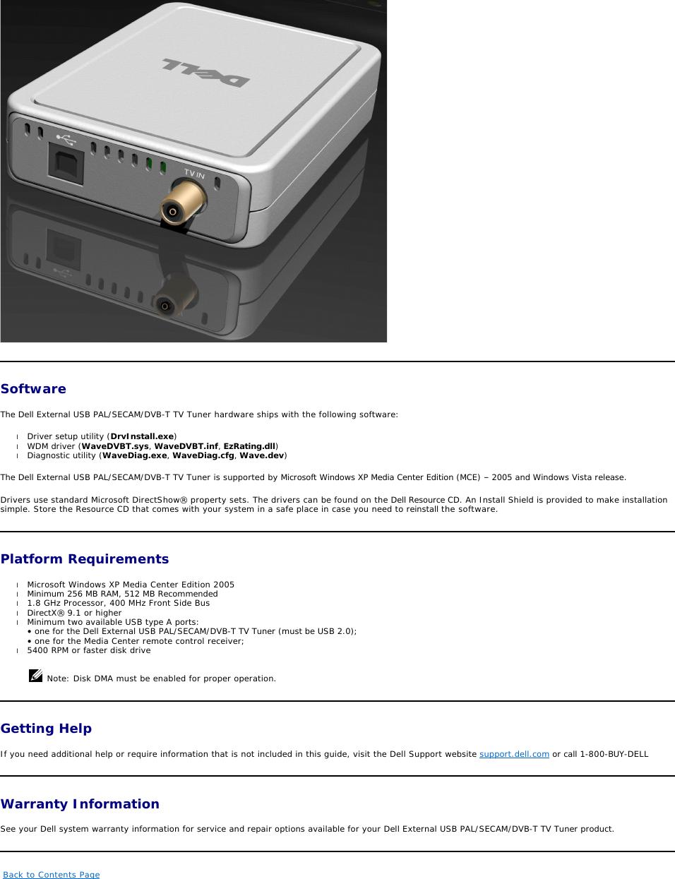Dell External Usb Pal Secam Dvb T Tv Tuner Owners Manual PAL/SECAM ...