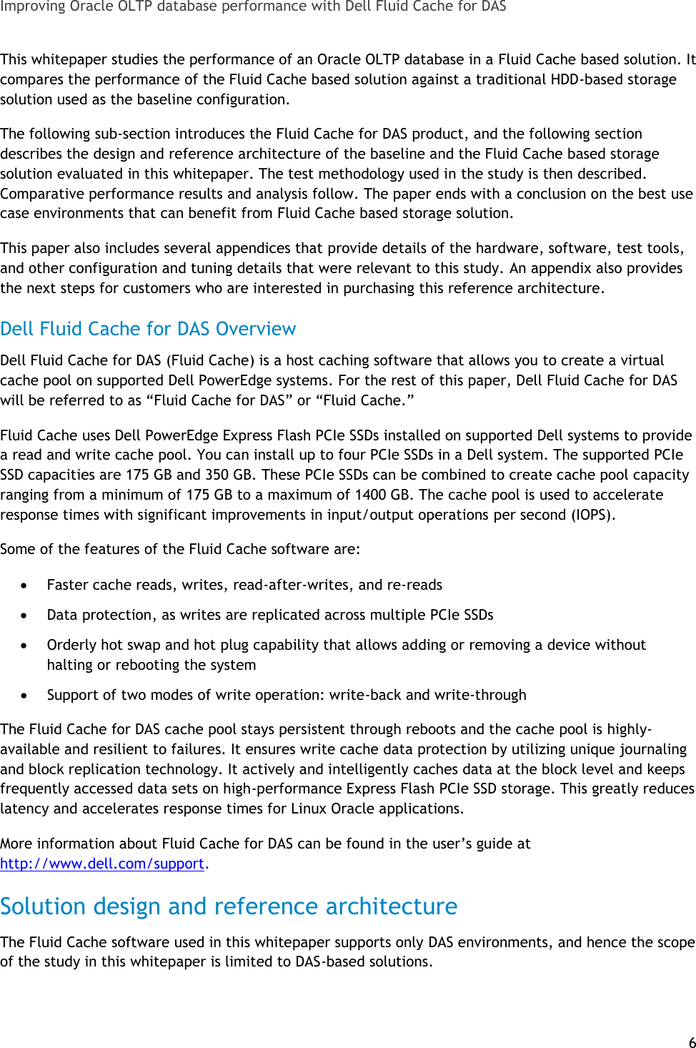 Dell Fluid Cache For Das Troubleshooting Improving Oracle OLTP