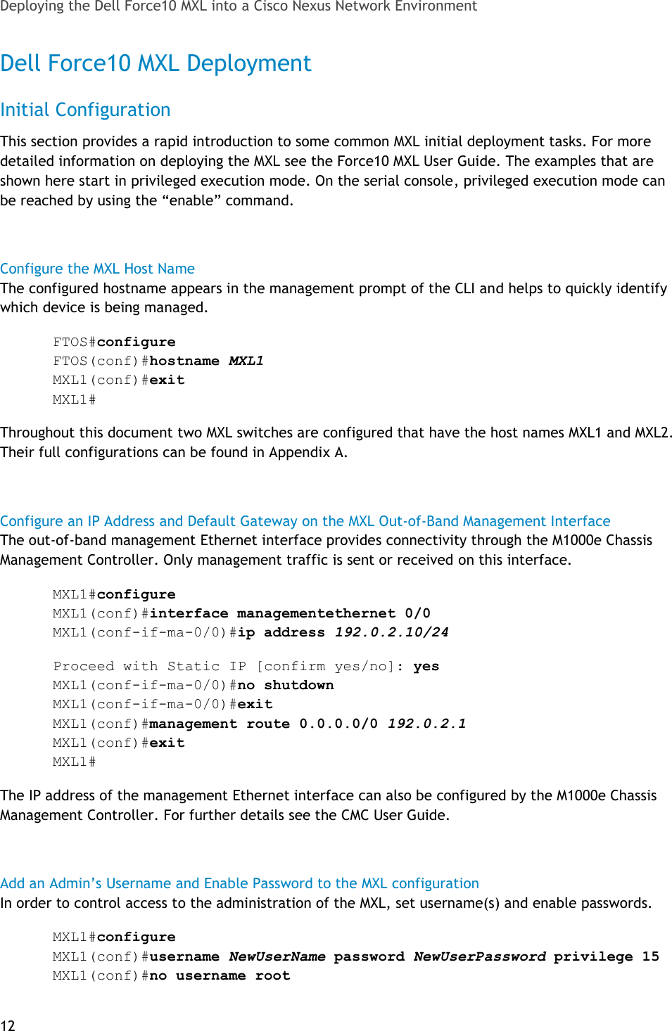 Dell Force10 Mxl Blade White Paper Deploying The Into A