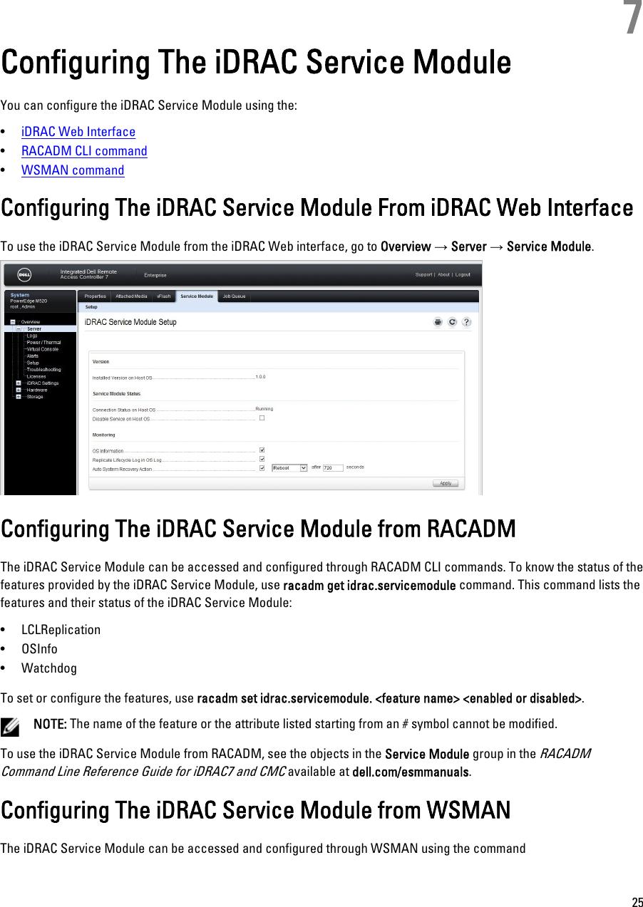 Dell Idrac Service Module 1 0 Manual Version 1 0 Installation Guide