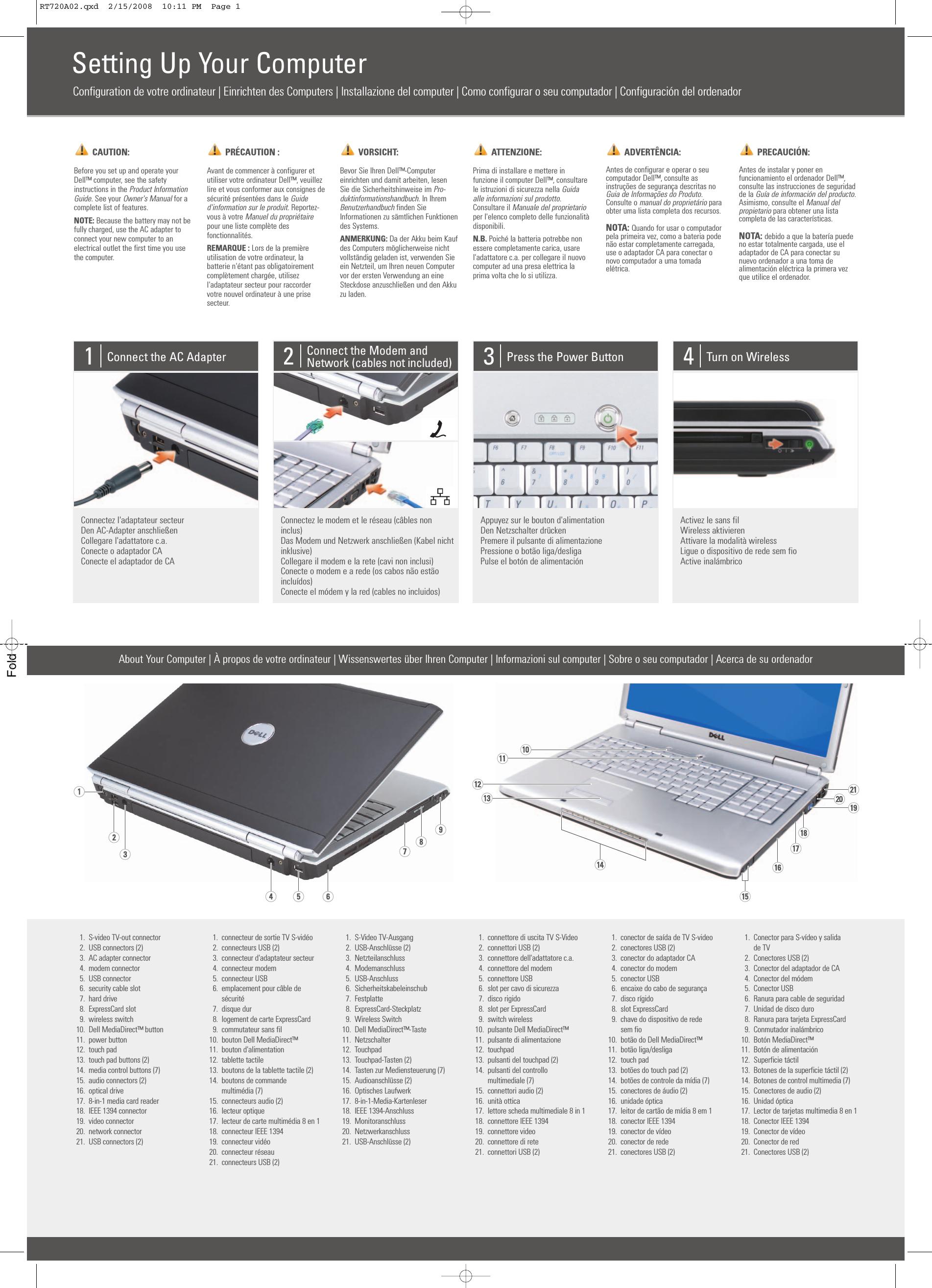 Dell Inspiron 1720 Setup Diagram