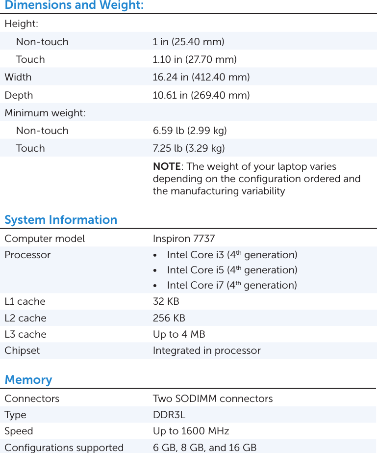 Dell Inspiron 17 7737 Specifications