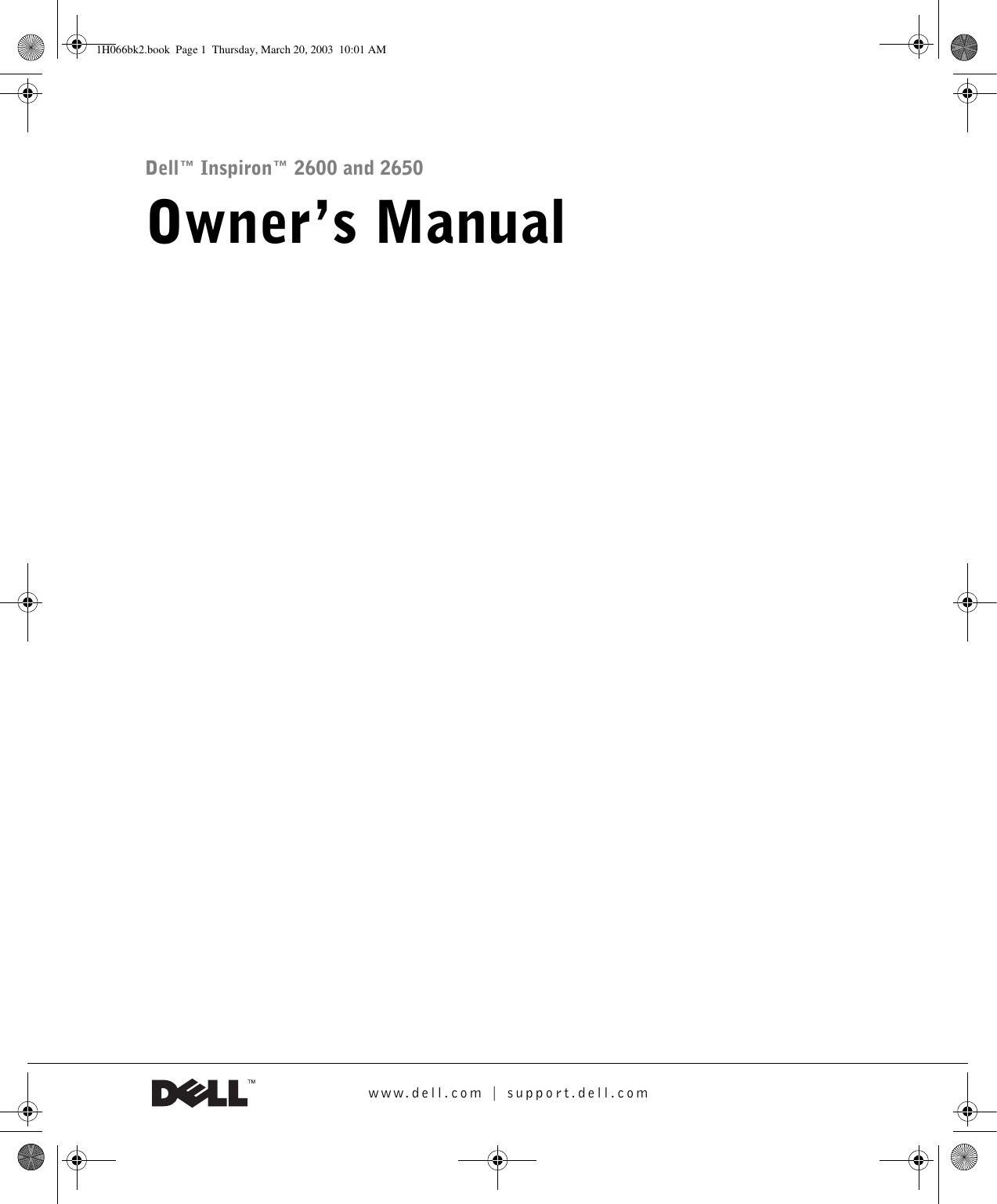 Dell Inspiron 2650 Owners Manual Owner's
