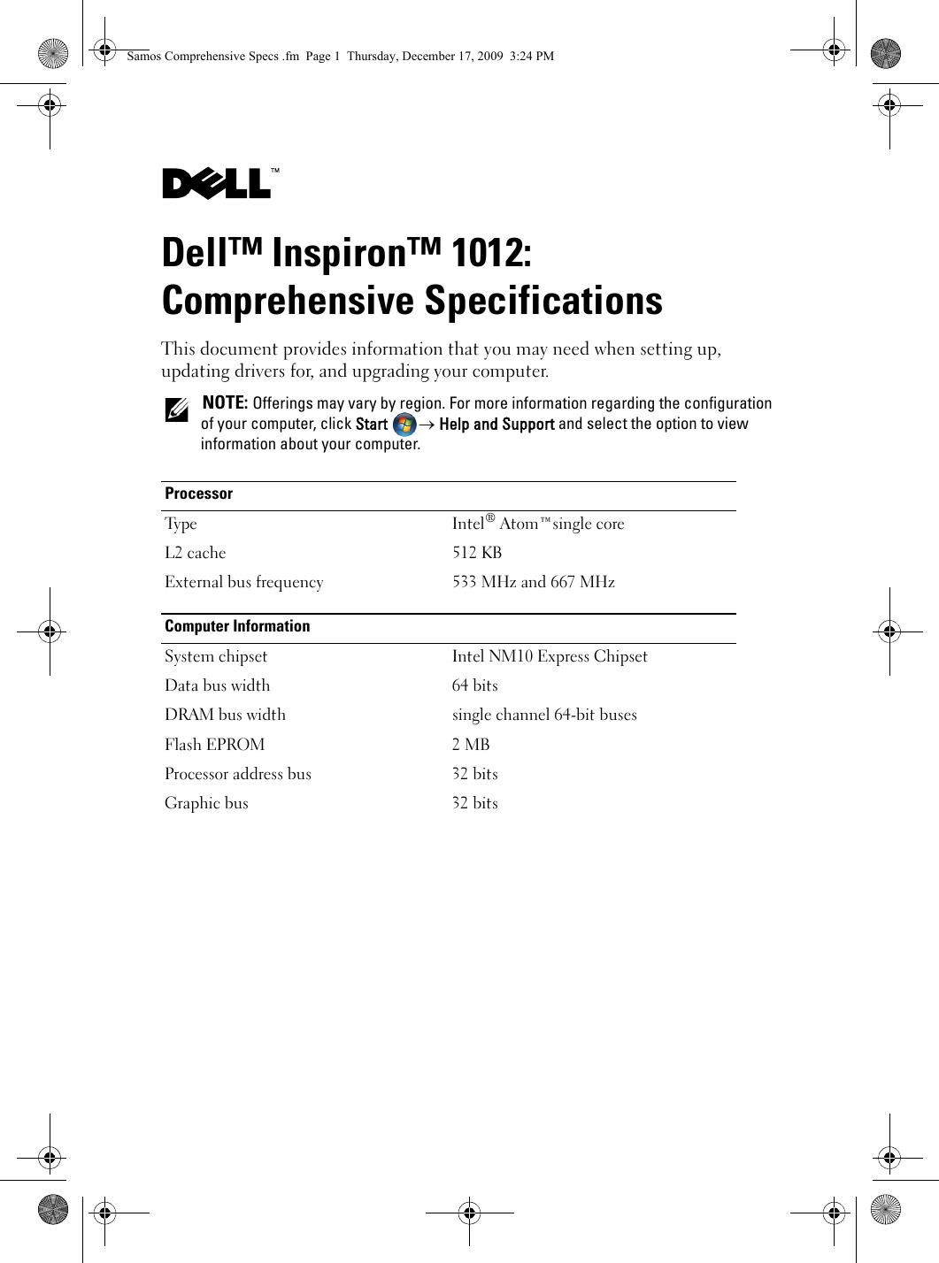 Dell Inspiron Mini 1012 Specifications Comprehensive