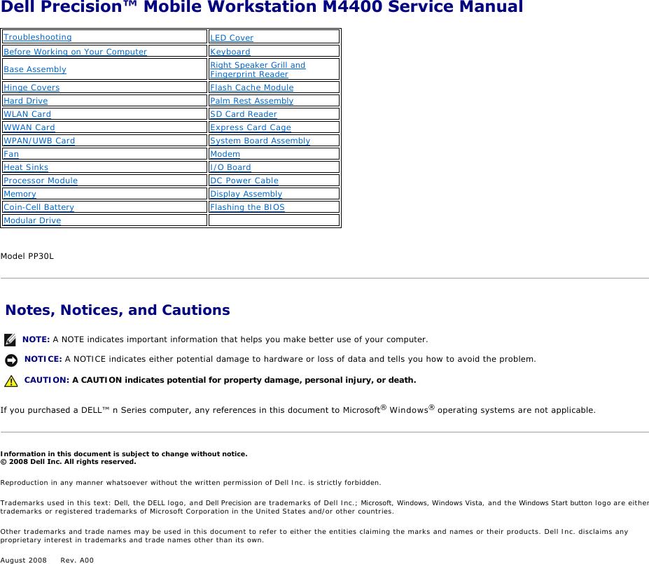 Dell Laptop Pp30L Users Manual Precision M4400 Service