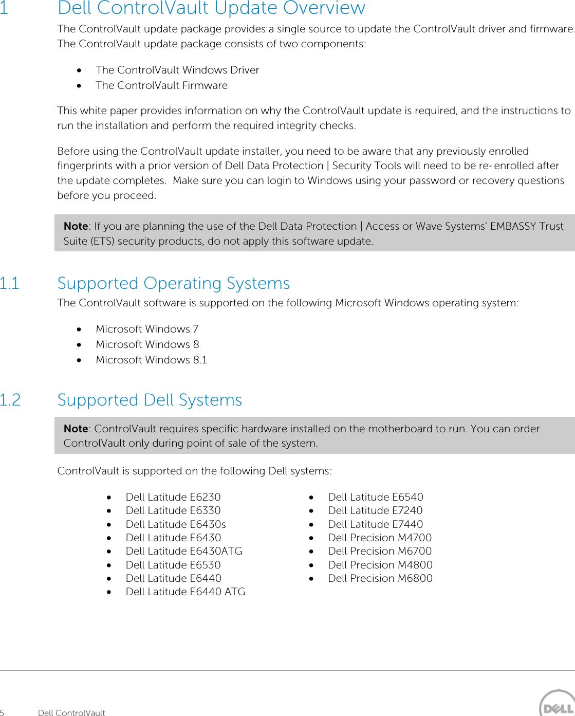 Dell Latitude E7440 Mid 2013 Troubleshooting ControlVault