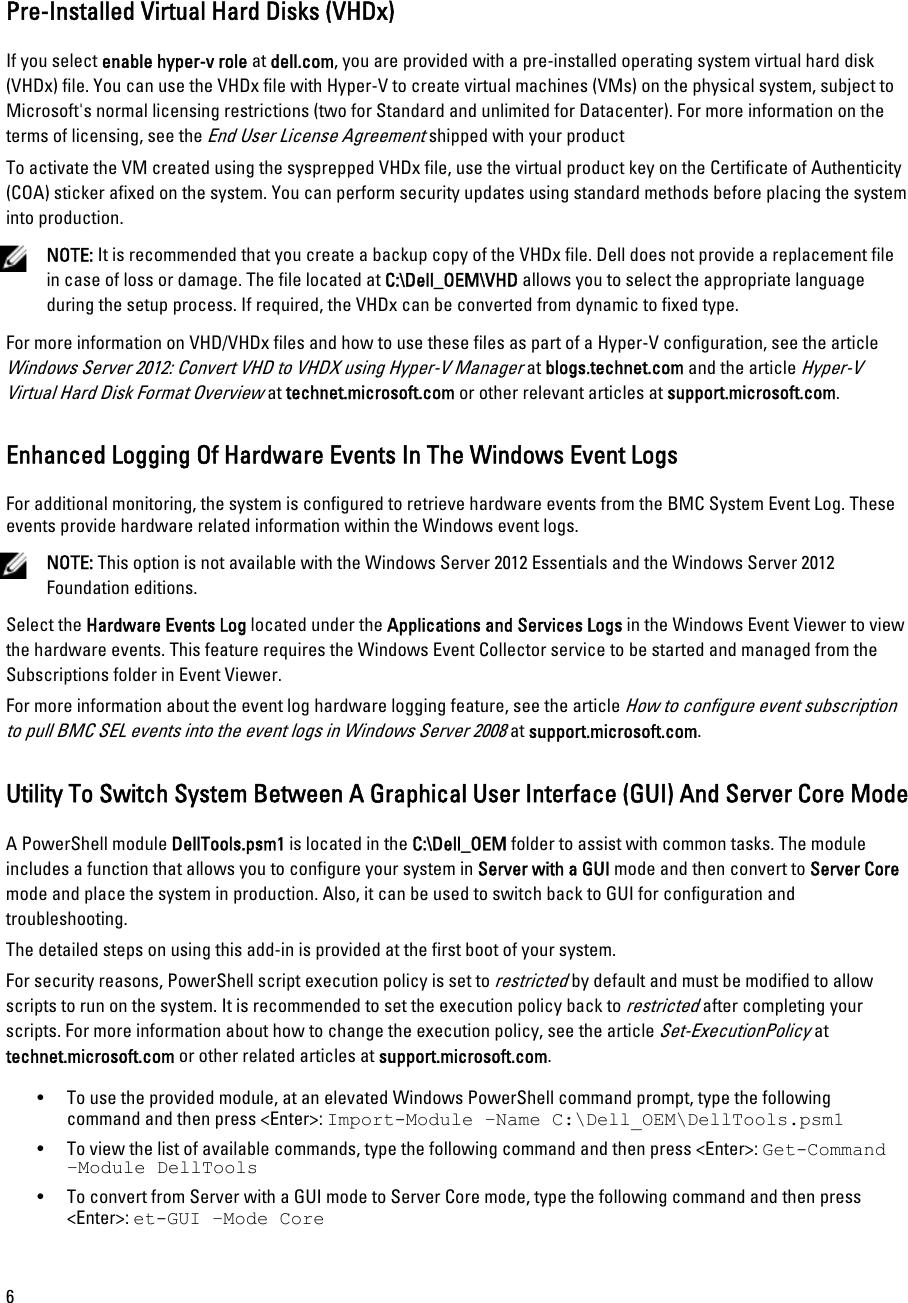 Dell Microsoft Windows 2012 Server Important Information Guide